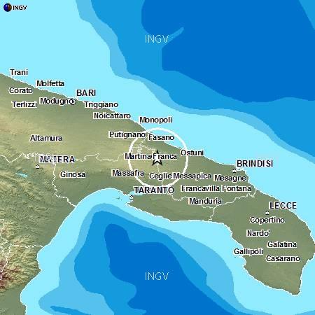 Terremoto in Puglia: oggi 11 agosto 2013 scossa in Valle D'Itria