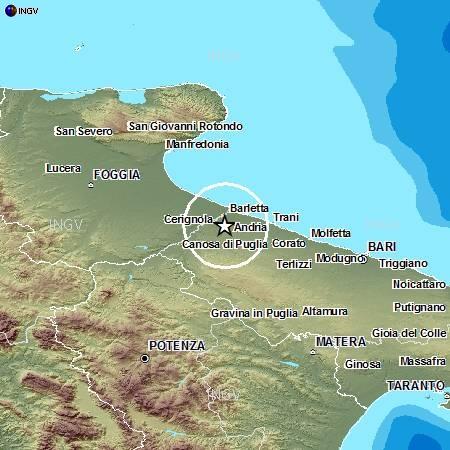 Terremoti in tempo reale Ingv oggi: scossa in Puglia e sciame sismico a Gubbio