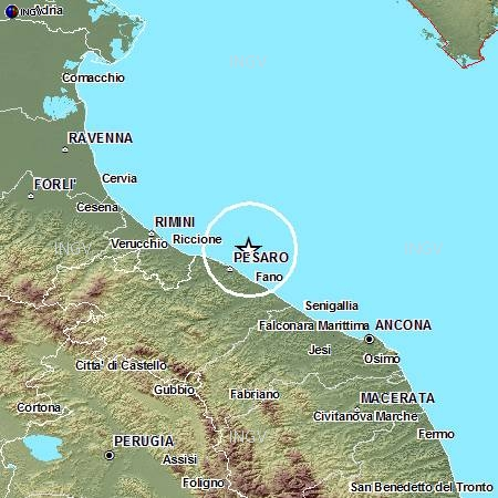 Terremoti in tempo reale: oggi news forte scossa a Pesaro e Fano