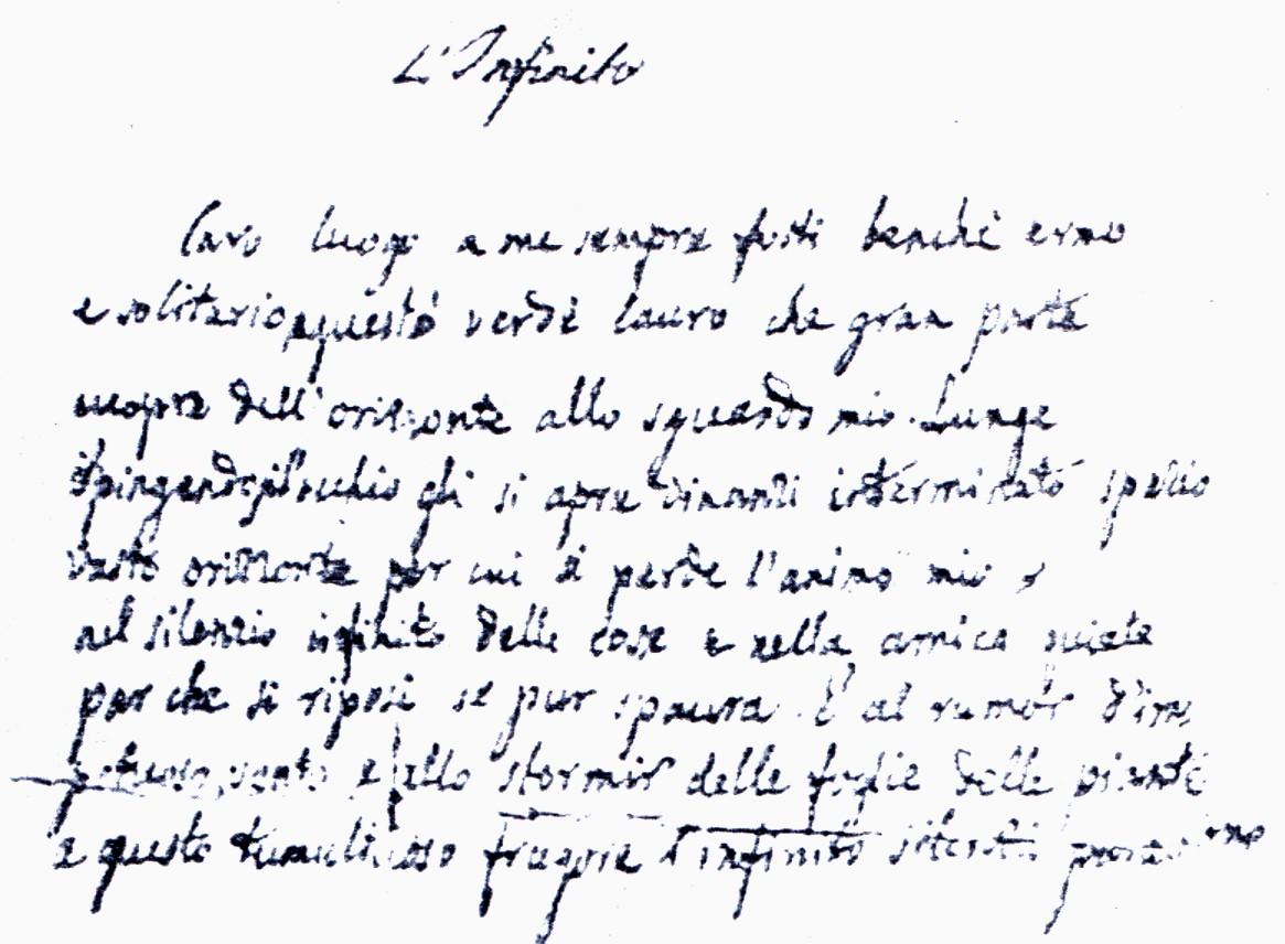 """Manoscritto autentico de """"l'Infinto"""" di Giacomo Leopardi all'asta per 150 mila euro"""