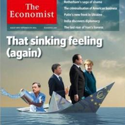 Economist, copertina choc, Matteo Renzi su barca che affonda con cono gelato in mano