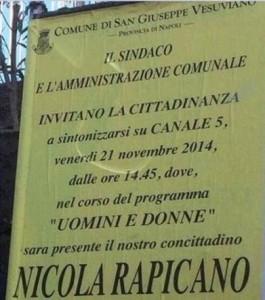 """San-Giuseppe-Vesuviano-polemiche-manifesto-sindaco-per-invito-a-vedere-""""Uomini-e-Donne"""""""