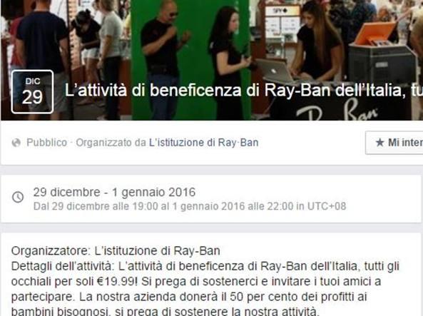 Facebook attenzione al virus Ray-Ban ecco come proteggersi