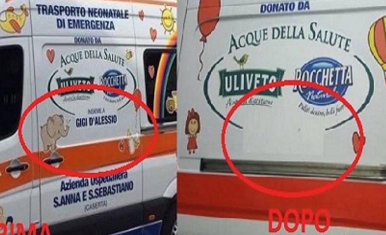 Gigi D'Alessio infuriato eliminato il suo nome da un ambulanza che ha donato