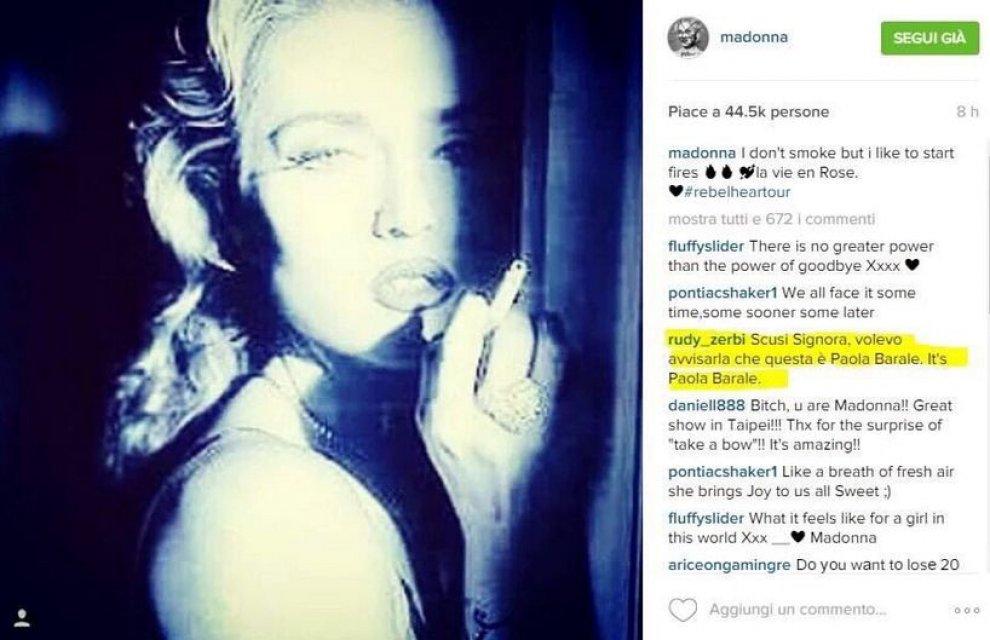 Madonna in totale confusione posta foto di Paola Barale al posto di una sua