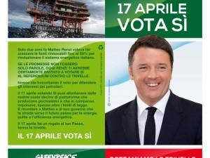 Referendum trivelle Greenpeace si inventa una burla, volantino con il fake di Renzi