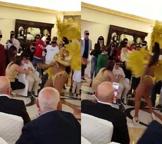 Altamura dopo la bimba in carrozza, la Lucarelli posta foto di una festa di comunione di un bambino con ballerina in perizoma