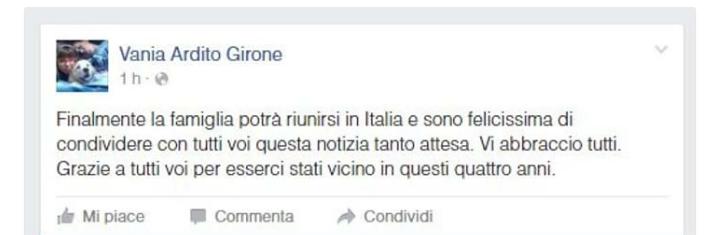 Marò, la moglie di Girone condivide su Facebook la gioia per il rimpatrio del marito