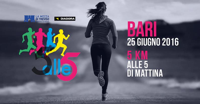 """Bari, all'alba di domani parte la corsa """"5 ALLE 5 BARI"""". Oltre 500 i partecipanti"""
