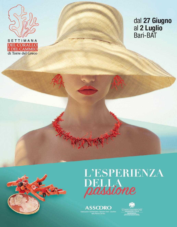 """Bari, in mostra i gioielli del mare con la """"Settimana del corallo e del cammeo"""" dal 27 giugno al 2 luglio"""