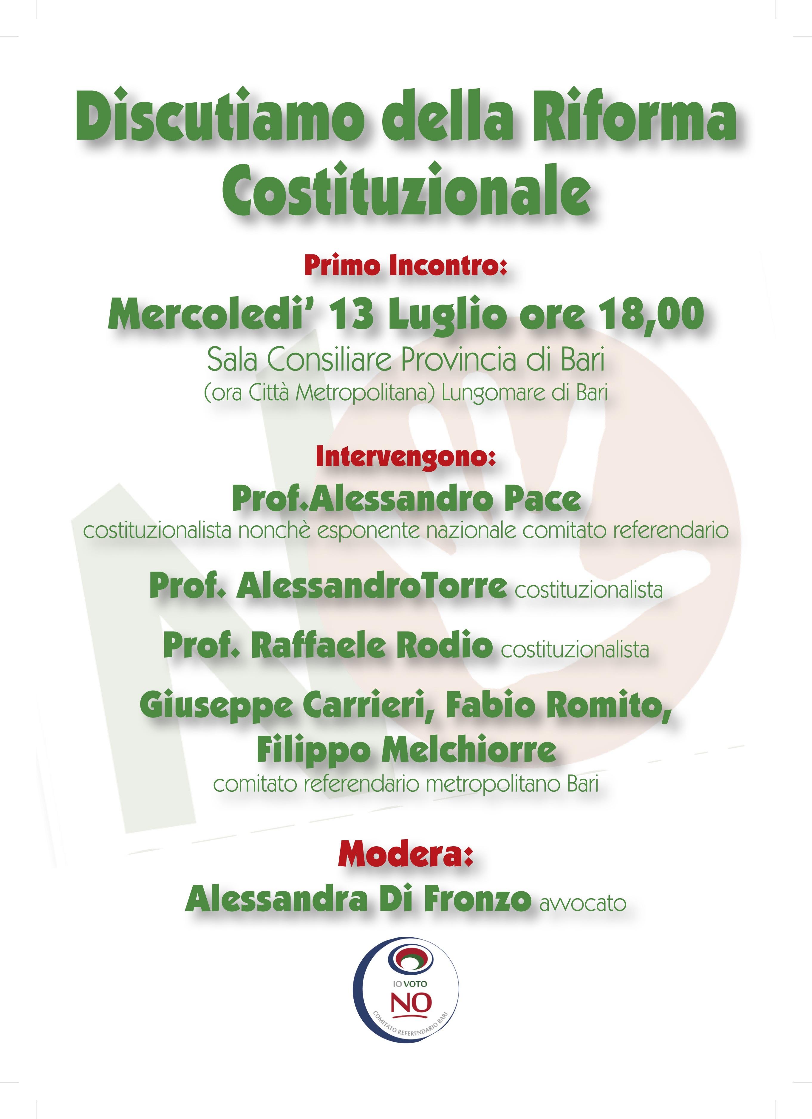 """Il Comitato """"BARI VOTA NO"""" organizza il giorno 13 luglio 2016 il primo incontro informativo sulla riforma istituzionale, ecco il programma"""
