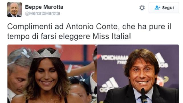 """Miss Italia 2016 scatena l'ironia del web per la sua """"agghiacciante"""" somiglianza con Antonio Conte"""