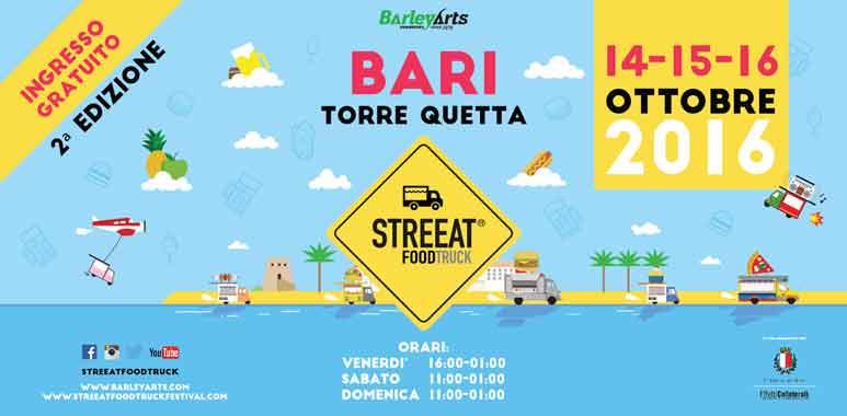 A Bari Streeat European Food Truck Festival dal 14 al 16 ottobre, ecco il programma