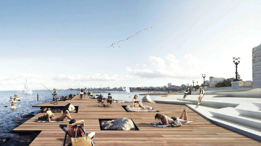 Bari come Copenaghen, ecco il nuovo lungomare con corsie ridotte, il tram elettrico e una immensa piscina sul mare