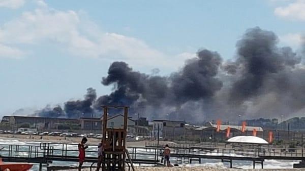 Bari, incendio sulla litoranea sud: A fuoco sterpaglie vicino al lido Trullo e a Torre Quetta