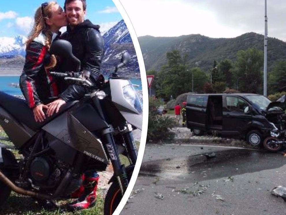 Lite stradale uomo rincorre e travolge una moto, morta una giovanissima donna, in fin di vita centauro