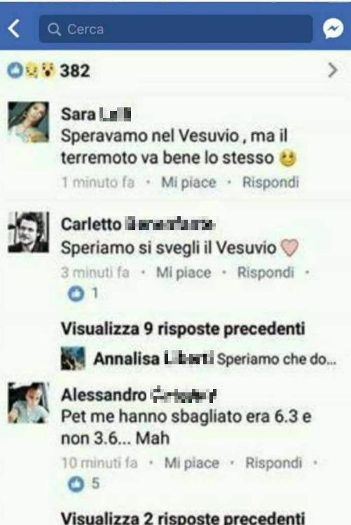 """Terremoto a Ischia, i post choc sui social """"Speravamo nel Vesuvio…ma va bene anche il terremoto"""", l'ira del web"""