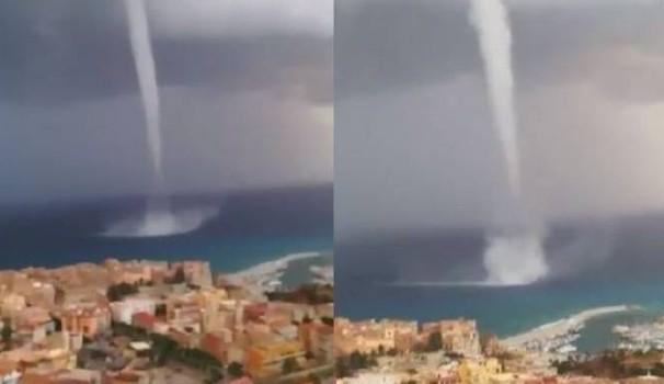 Spaventosa tromba marina a Tropea, la paura arriva dal mare panico tra i residenti – video