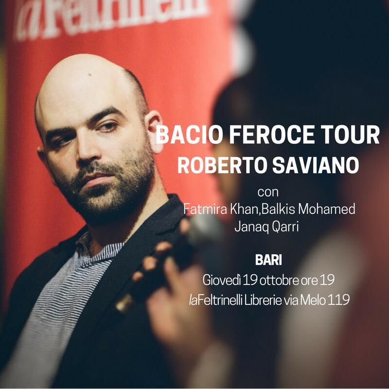 """Roberto Saviano alla Feltrinelli di Bari per presentare """"Bacio Feroce"""", dalle 13 di domani 19 ottobre chiusa al traffico via Melo"""