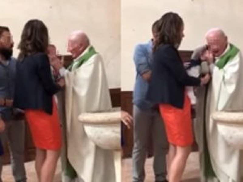 Immagini choc, durante battesimo prete prende e schiaffi il bambino e lo strattona, l'intervento dei genitori – video