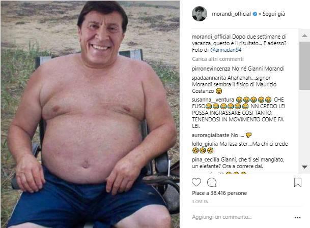 """Gianni Morandi e la foto choc ingrassato di 20 chili, """"Ecco cosa mi è successo dopo due settimane di vacanze"""""""