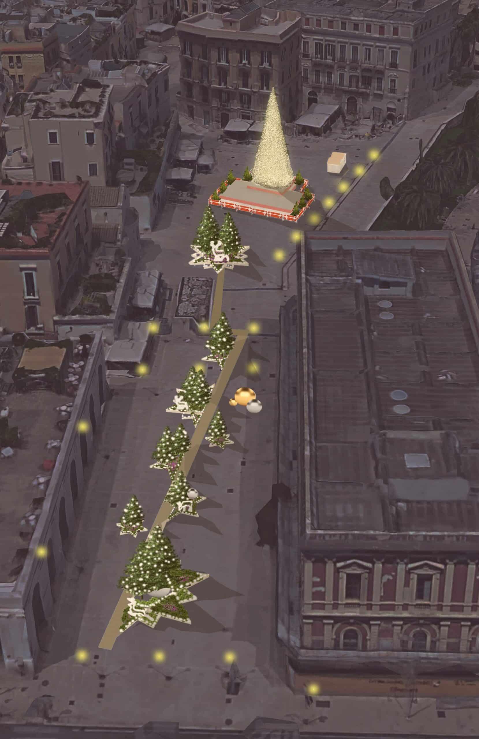 Bari Natale 2018,a piazza Ferrarese passeggiata tra le stelle e un albero alto 14 metri