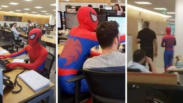 Impiegato di banca l'ultimo giorno a lavoro prima di dimettersi si presenta vestito da uomo ragno