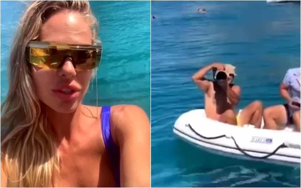 Paparazzo a bordo di un gommone segue per mare Ilary Blasi, il gommone ha un guasto, cosa fa Lady Totti è pazzesco, il web esplode