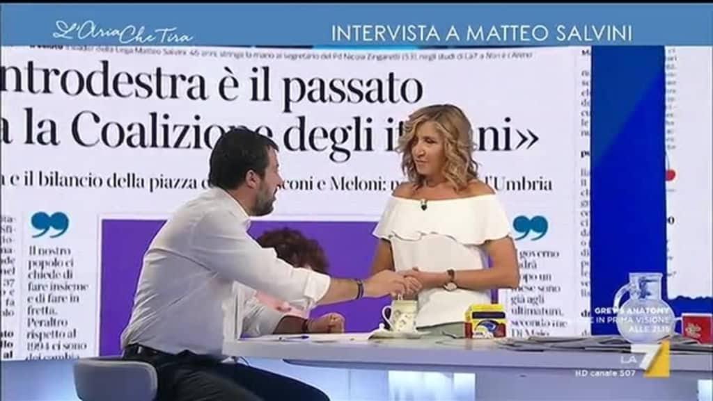 """Myrta Merlino su La7 a Salvini """"Ho letto che c'è un ritorno di fiamma con Di Maio"""" , la risposta del leader della Lega è epica…"""