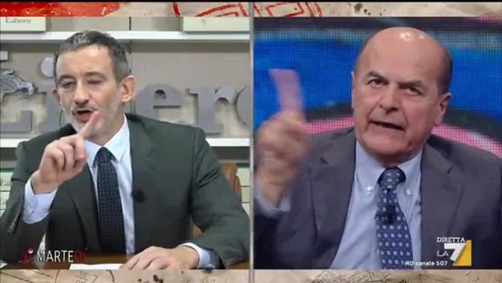 """Su La7, duro scontro tra Bersani e Senaldi, il direttore di Libero """"Volete far eleggere un Presidente della Repubblica da un parlamento che ha contro il 60-70% degli italiani?"""" l'ex segretario Pd """"Lei e Salvini non potete permettervi dire questo"""""""