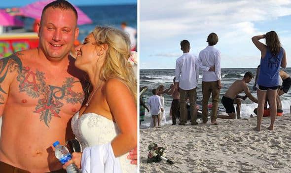 Sposo eroe vede un ragazzo annegare, interrompe il suo matrimonio sulla spiaggia si tuffa e lo salva
