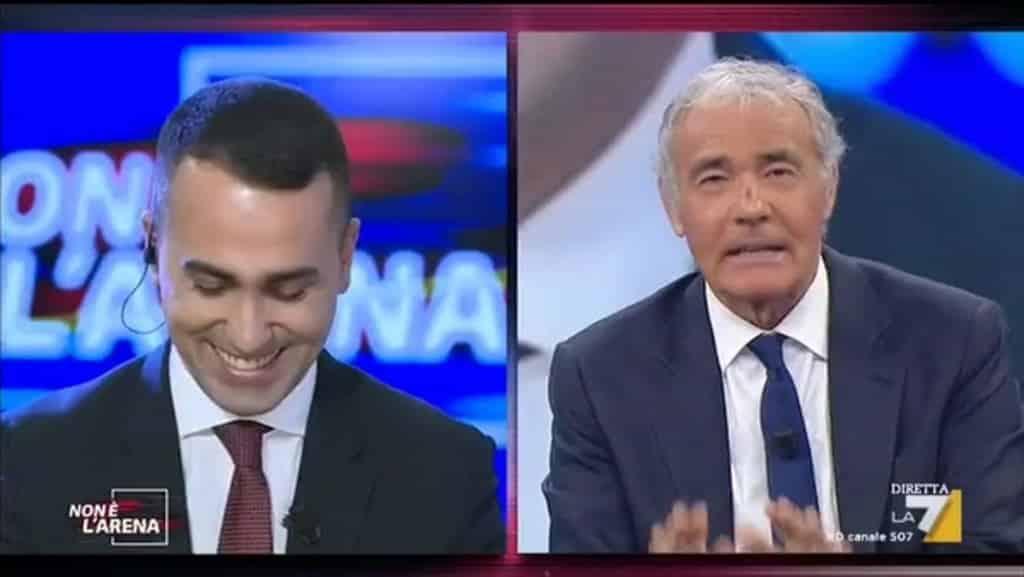 """Non è l'arena, Massimo Giletti a Luigi Di Maio """"hai chiamato Salvini per chiedere della nuova fidanzata?"""" il capo politico del M5S risponde così"""