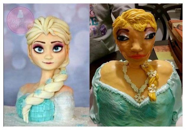 Per accontentare la bimba ordinano per il suo compleanno la torta della Principessa Elsa, ma il risultato è da film horror