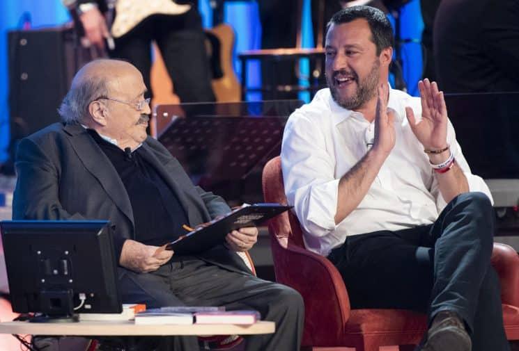 """Matteo Salvini a Maurizio Costanzo show: """"Se viene Conte in studio facciamo Albano e Romina"""""""