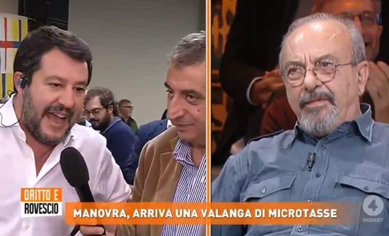 """Diritto e Rovescio, duro scontro Vauro – Matteo Salvini sul salame di maiale, il leader leghista al vignettista """"prenditi un Maalox"""""""