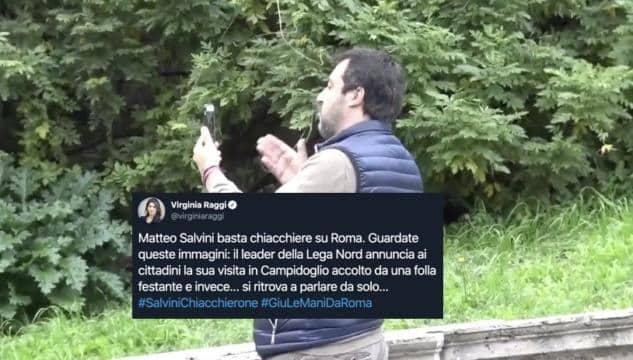 La Raggi, sindaco di Roma, prende in giro Matteo Salvini pubblicando un video dove il leader della Lega parla da solo