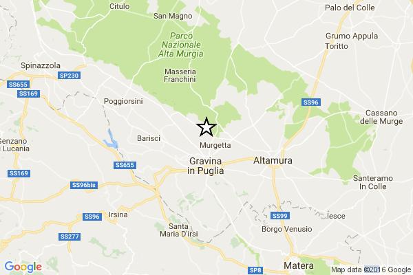 Terremoto in tempo reale, scossa in Puglia, trema la terra a Gravina in provincia di Bari