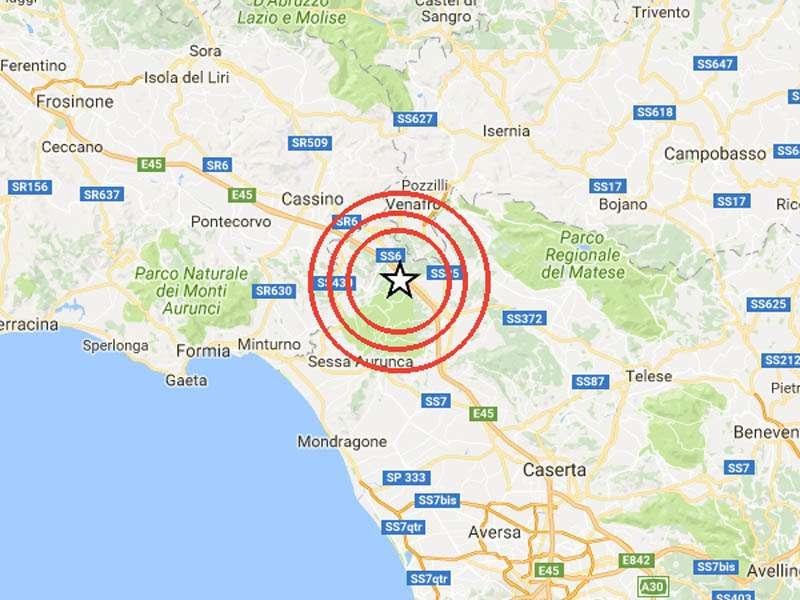 Terremoto in tempo reale,  scossa in Campania, trema la terra a Caserta