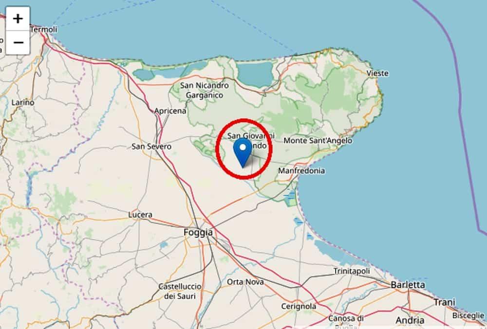 Terremoto in tempo reale, nuova scossa in Puglia, trema la terra a San Giovanni Rotondo