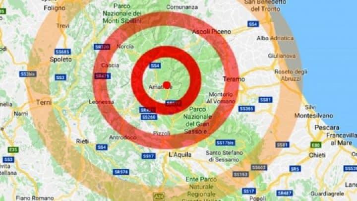 Terremoto in tempo reale, nuova scossa nel Lazio, trema la terra a Amatrice