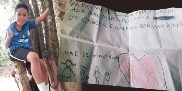 Bambino di nove anni scopre che la mamma è malata e reagisce così