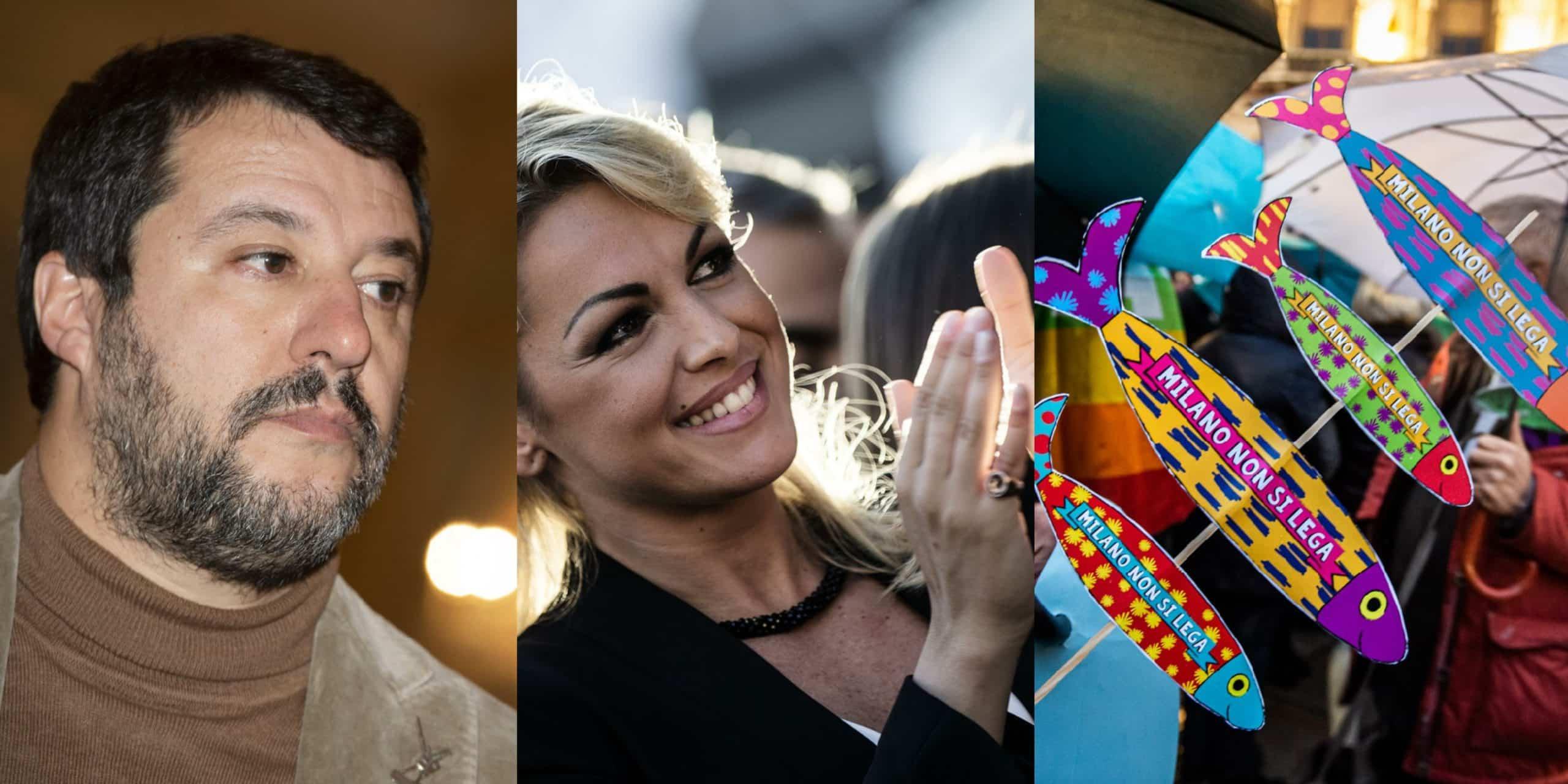 """Matteo Salvini a mezz'ora sulla fidanzata di Berlusconi """"Che bel futuro brillante per l'Italia, con la Pascale, Saviano e Carola in piazza con le sardine!"""""""
