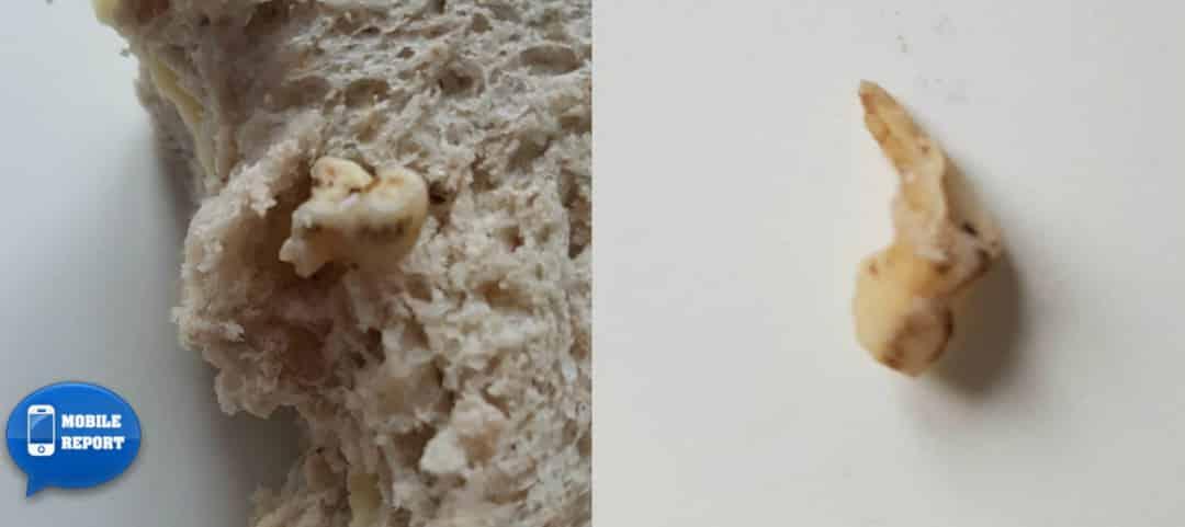 Compra un panino alle noci e trova dentro un dente