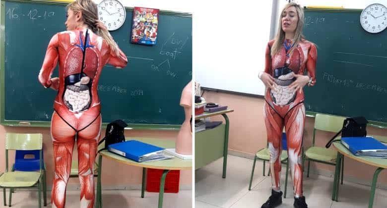 Una maestra per spiegare il corpo umano ai suoi alunni si inventa un modo che li lascia a bocca aperta