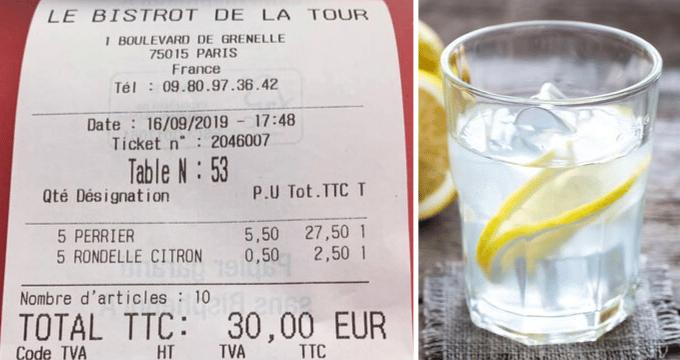 Ordina al bar un bicchiere d'acqua e le fanno pagare 50 centesime la fetta di limone