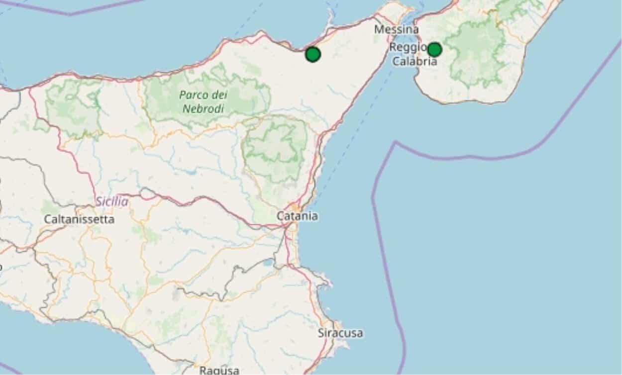 Terremoto in tempo reale, trema la terra in Sicilia, scossa nel messinese