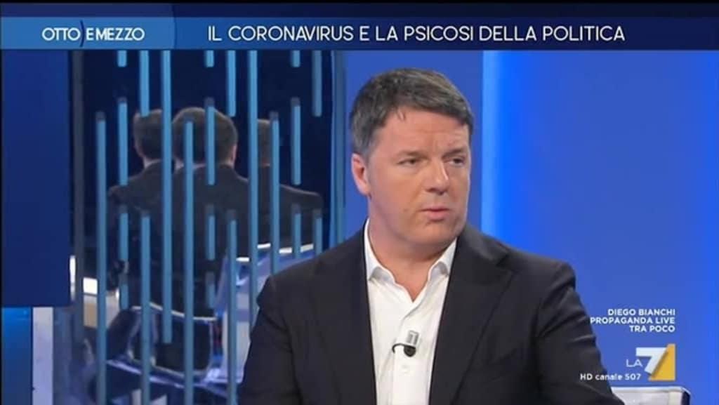 """Matteo Renzi a Otto e Mezzo sul Coronavirus attacca Matteo Salvini """"Sta citofonando agli italiani per alimentare le paure"""""""