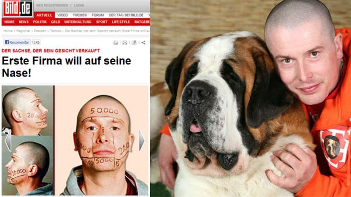 Crisi economica, vende la sua faccia per 100 mila euro per far fare i test a tatuatori creativi