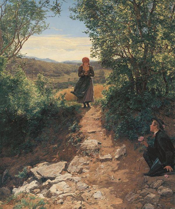 Una ragazza è intenta a guardare il suo smartphone, nulla di strano se non fosse che si tratta di un dipinto del 1850