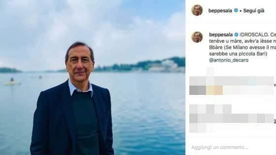 """L'omaggio del Sindaco di Milano Beppe Sala a Bari, """"Se Milano avesse il mare, sarebbe una piccola Bari"""""""